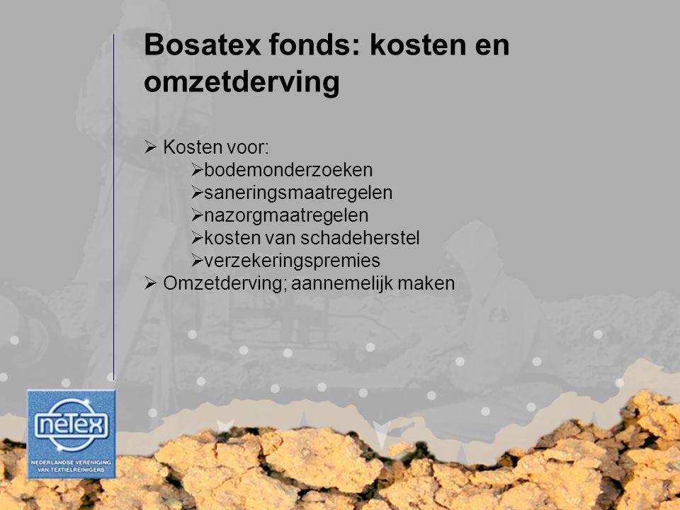  Kosten voor:  bodemonderzoeken  saneringsmaatregelen  nazorgmaatregelen  kosten van schadeherstel  verzekeringspremies  Omzetderving; aannemel