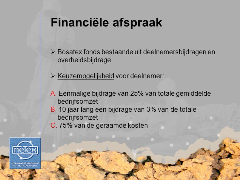 Financiële afspraak  Bosatex fonds bestaande uit deelnemersbijdragen en overheidsbijdrage  Keuzemogelijkheid voor deelnemer: A. Eenmalige bijdrage v