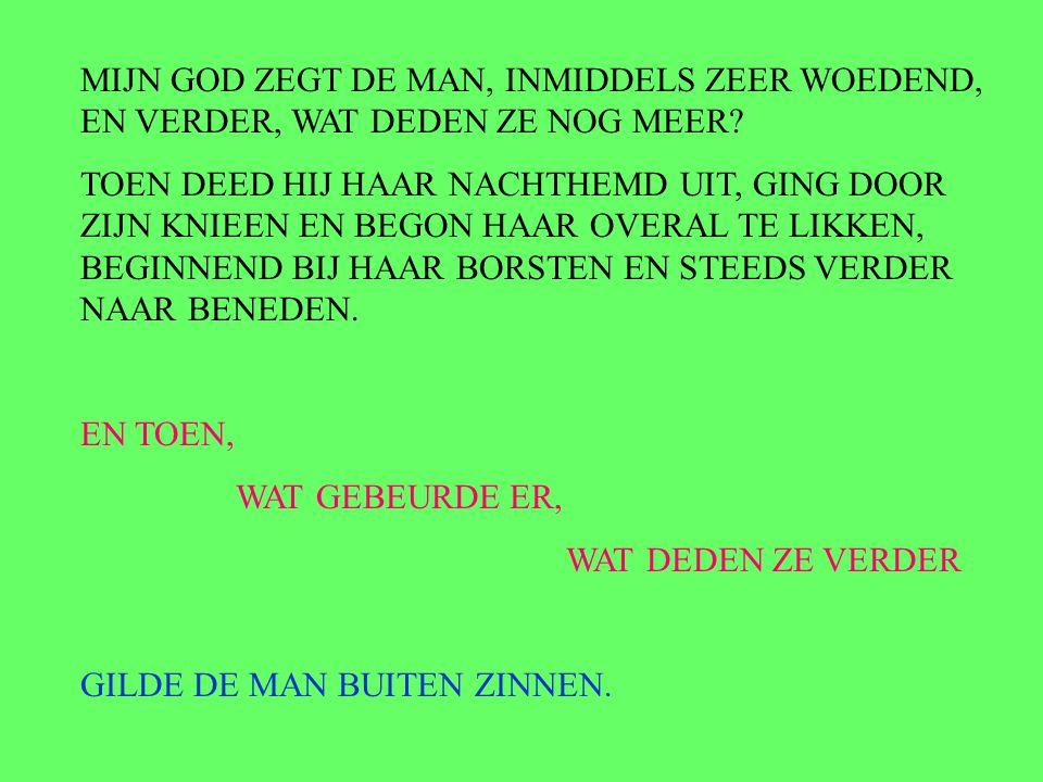 MIJN GOD ZEGT DE MAN, INMIDDELS ZEER WOEDEND, EN VERDER, WAT DEDEN ZE NOG MEER.
