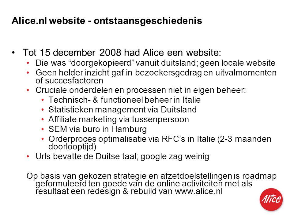 Produkte für Privatkunden und kleine Geschäftskunden I M I 04.06.2007 Alice.nl website - ontstaansgeschiedenis •Tot 15 december 2008 had Alice een web