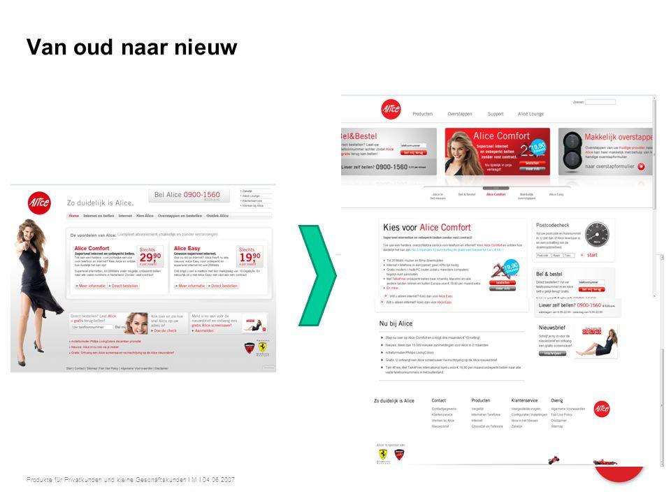 Produkte für Privatkunden und kleine Geschäftskunden I M I 04.06.2007 Van oud naar nieuw