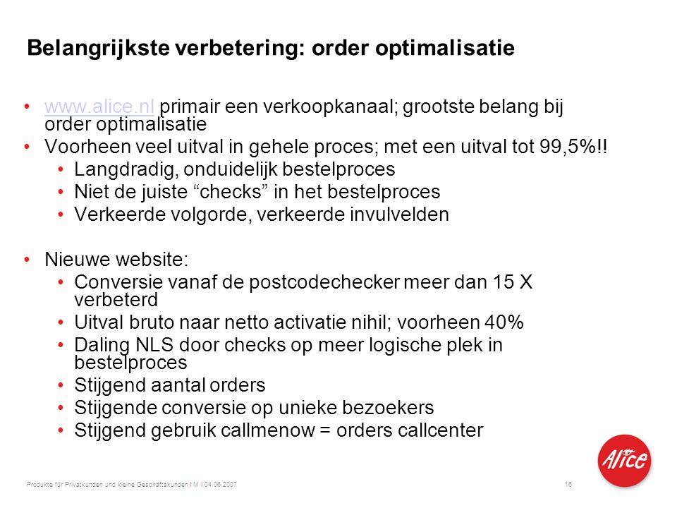 Belangrijkste verbetering: order optimalisatie 16 •www.alice.nl primair een verkoopkanaal; grootste belang bij order optimalisatiewww.alice.nl •Voorhe