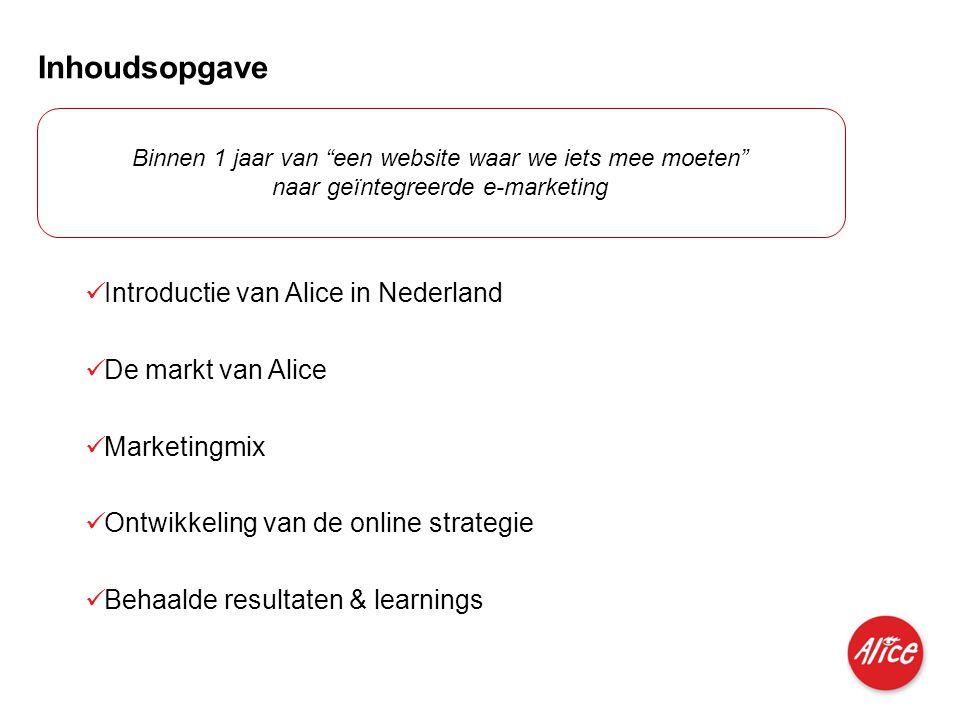 Produkte für Privatkunden und kleine Geschäftskunden I M I 04.06.2007 Inhoudsopgave  Introductie van Alice in Nederland  De markt van Alice  Market