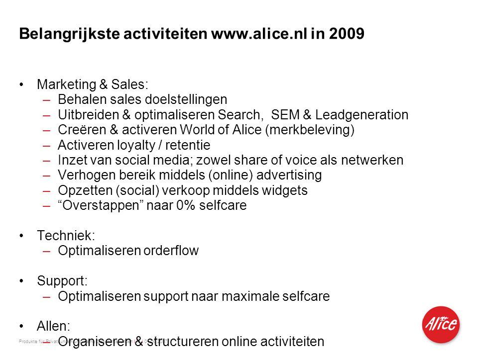 Produkte für Privatkunden und kleine Geschäftskunden I M I 04.06.2007 Belangrijkste activiteiten www.alice.nl in 2009 •Marketing & Sales: –Behalen sal