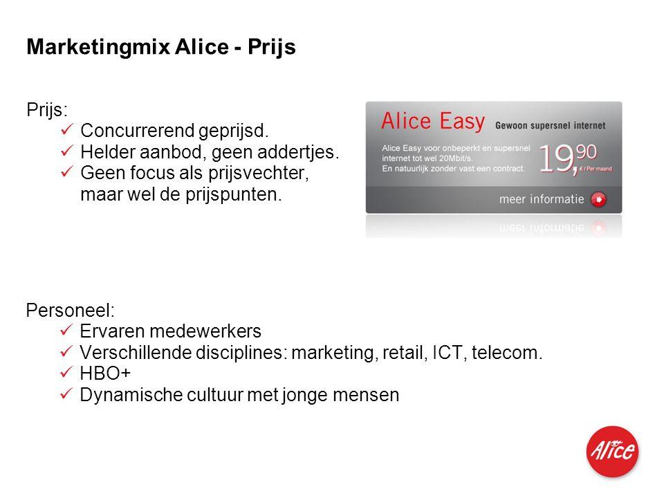 Produkte für Privatkunden und kleine Geschäftskunden I M I 04.06.2007 Marketingmix Alice - Prijs Prijs:  Concurrerend geprijsd.  Helder aanbod, geen
