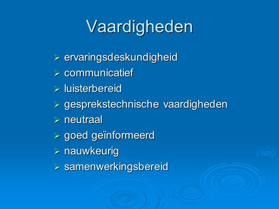 Vaardigheden  ervaringsdeskundigheid  communicatief  luisterbereid  gesprekstechnische vaardigheden  neutraal  goed geïnformeerd  nauwkeurig  samenwerkingsbereid