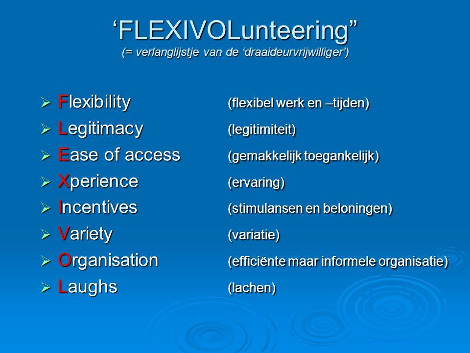 'FLEXIVOLunteering (= verlanglijstje van de 'draaideurvrijwilliger')  Flexibility (flexibel werk en –tijden)  Legitimacy (legitimiteit)  Ease of access (gemakkelijk toegankelijk)  Xperience (ervaring)  Incentives (stimulansen en beloningen)  Variety (variatie)  Organisation (efficiënte maar informele organisatie)  Laughs (lachen)