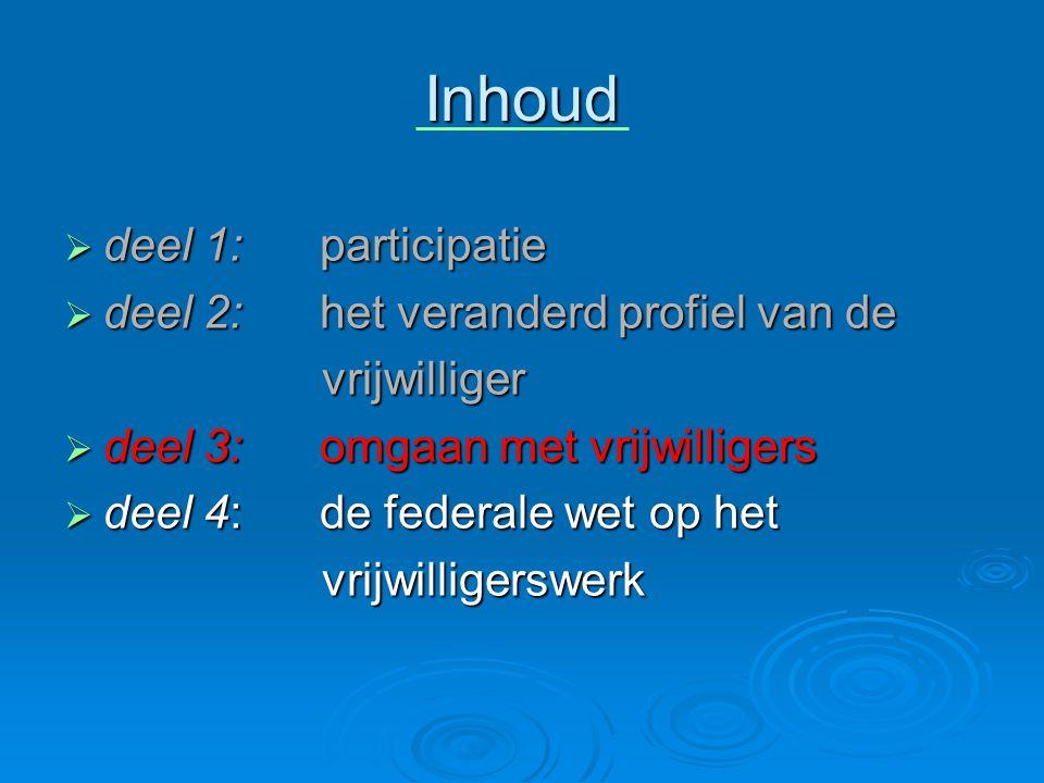 Inhoud  deel 1: participatie  deel 2: het veranderd profiel van de vrijwilliger vrijwilliger  deel 3: omgaan met vrijwilligers  deel 4: de federale wet op het vrijwilligerswerk vrijwilligerswerk