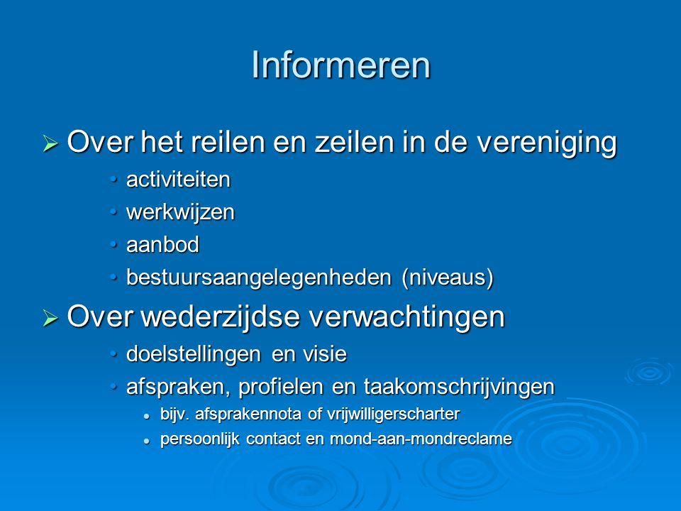 Informeren  Over het reilen en zeilen in de vereniging •activiteiten •werkwijzen •aanbod •bestuursaangelegenheden (niveaus)  Over wederzijdse verwac