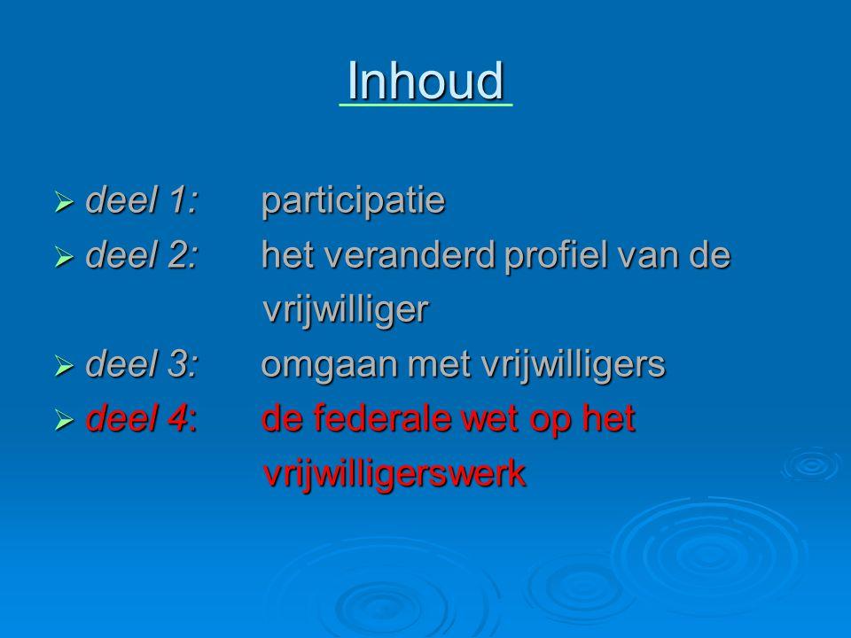 Inhoud  deel 1: participatie  deel 2: het veranderd profiel van de vrijwilliger vrijwilliger  deel 3: omgaan met vrijwilligers  deel 4: de federal