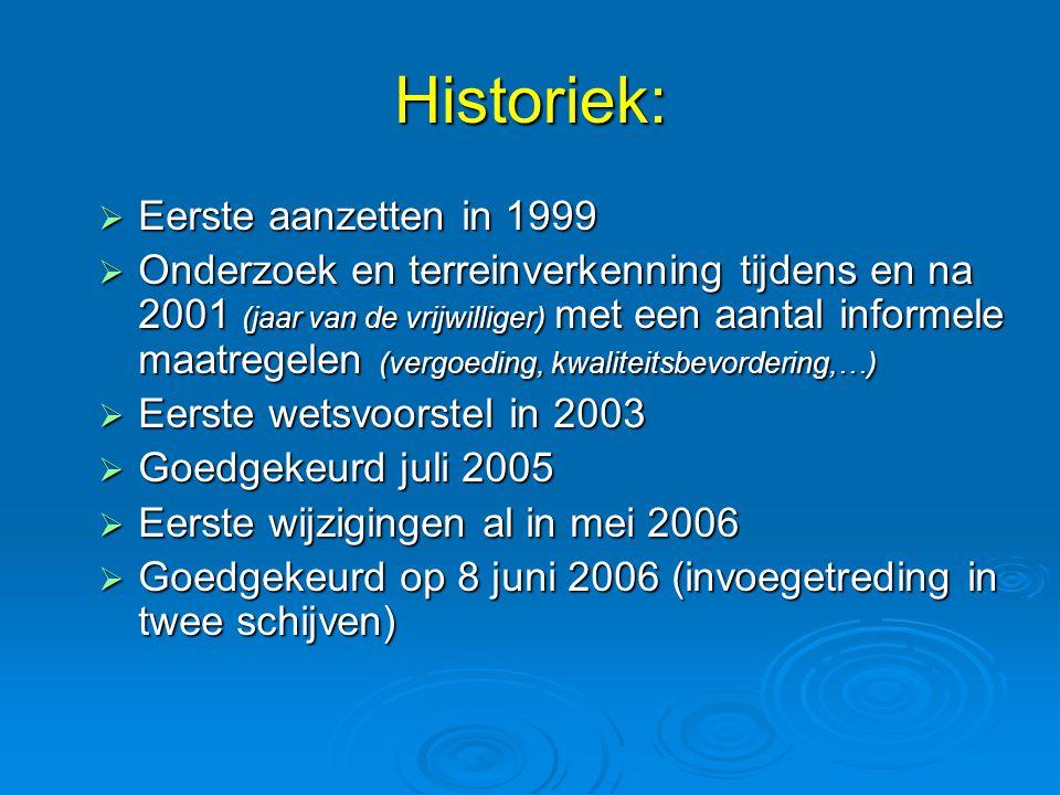 Historiek:  Eerste aanzetten in 1999  Onderzoek en terreinverkenning tijdens en na 2001 (jaar van de vrijwilliger) met een aantal informele maatrege