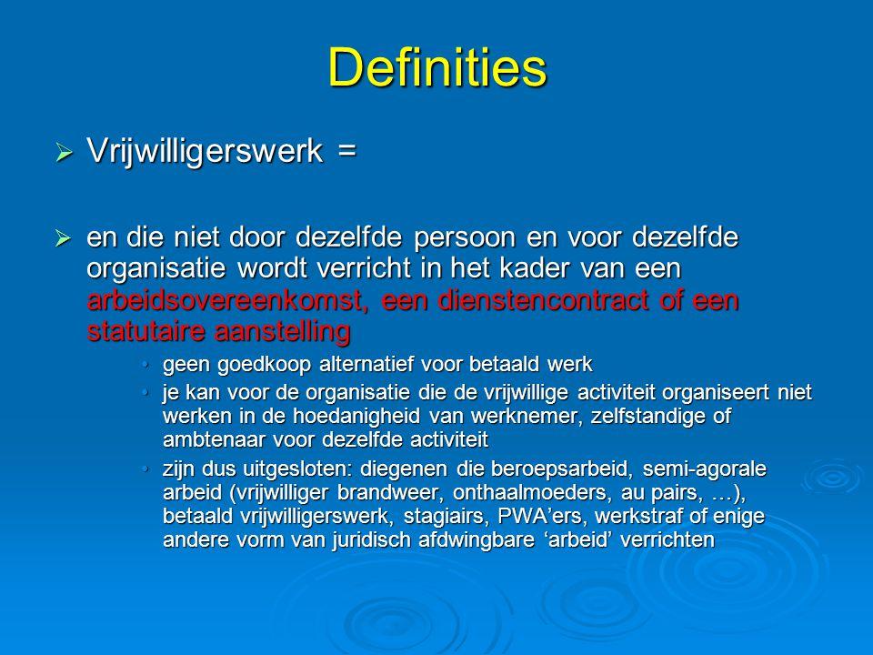 Definities  Vrijwilligerswerk =  en die niet door dezelfde persoon en voor dezelfde organisatie wordt verricht in het kader van een arbeidsovereenko