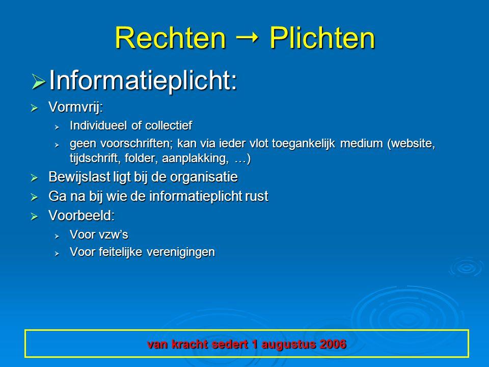 Rechten  Plichten  Informatieplicht:  Vormvrij:  Individueel of collectief  geen voorschriften; kan via ieder vlot toegankelijk medium (website,