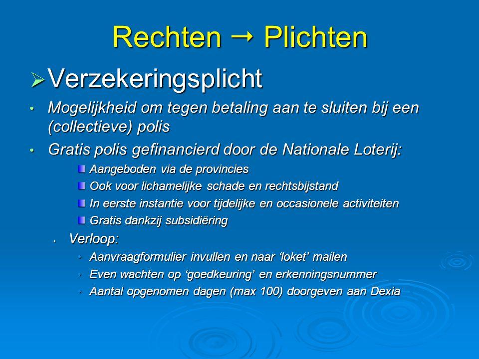 Rechten  Plichten  Verzekeringsplicht • Mogelijkheid om tegen betaling aan te sluiten bij een (collectieve) polis • Gratis polis gefinancierd door d