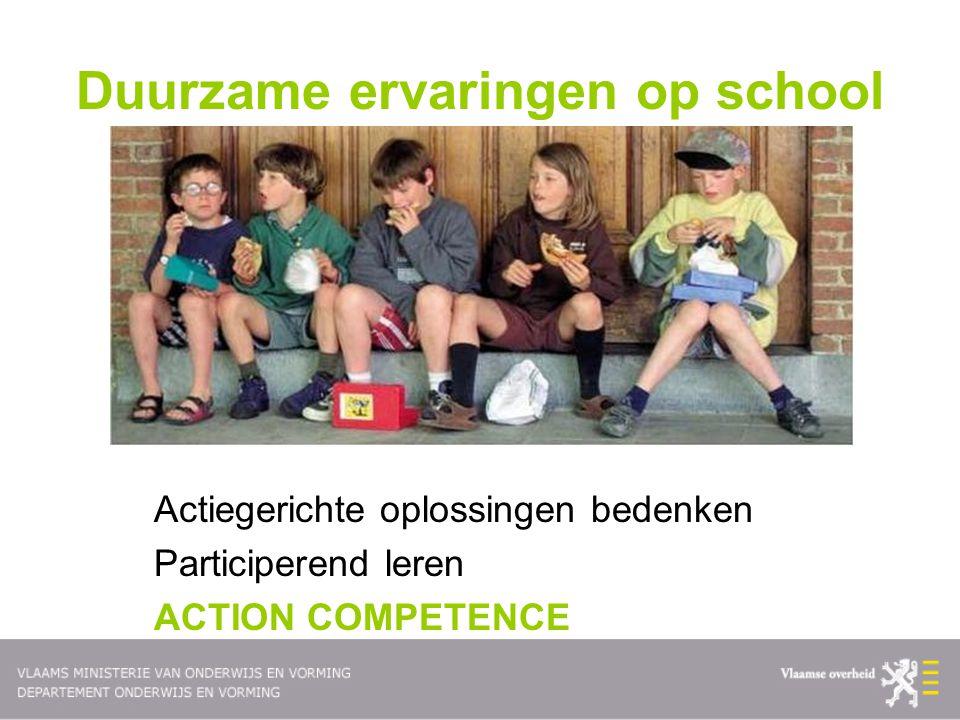 Duurzame ervaringen op school Actiegerichte oplossingen bedenken Participerend leren ACTION COMPETENCE