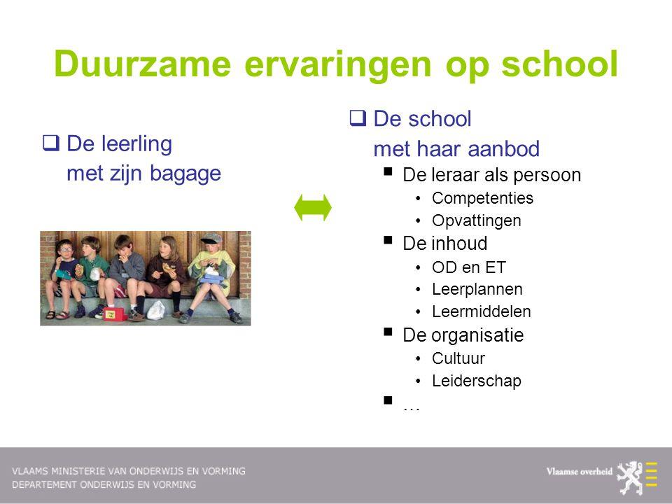 Duurzame ervaringen op school  De leerling met zijn bagage  De school met haar aanbod  De leraar als persoon •Competenties •Opvattingen  De inhoud