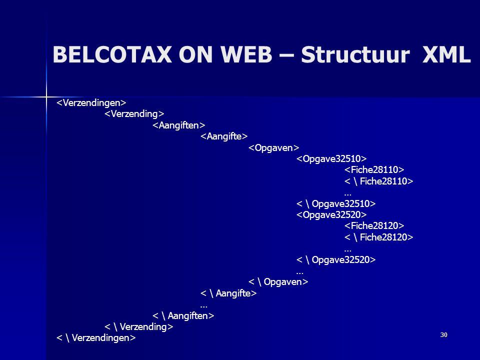 30 BELCOTAX ON WEB – Structuur XML … … … …