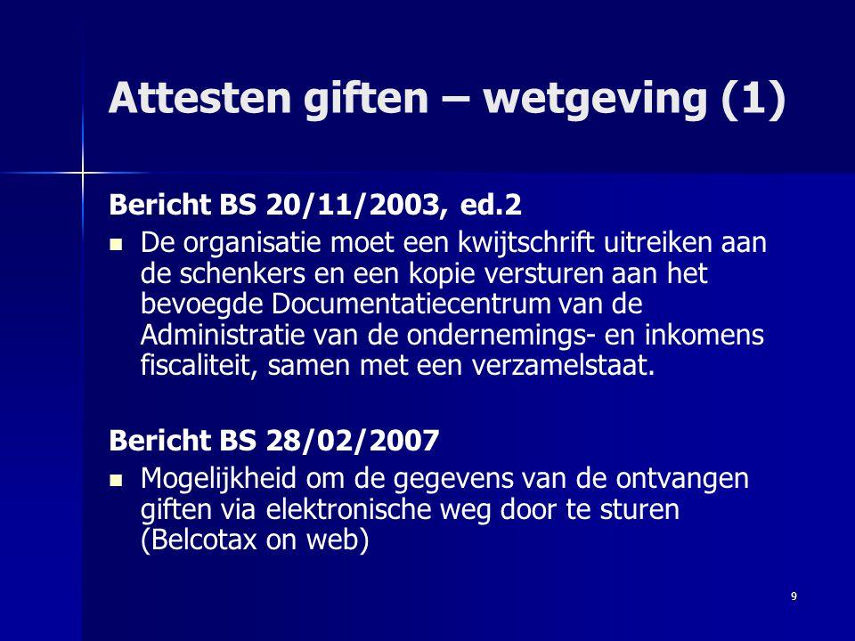 9 Attesten giften – wetgeving (1) Bericht BS 20/11/2003, ed.2   De organisatie moet een kwijtschrift uitreiken aan de schenkers en een kopie verstur