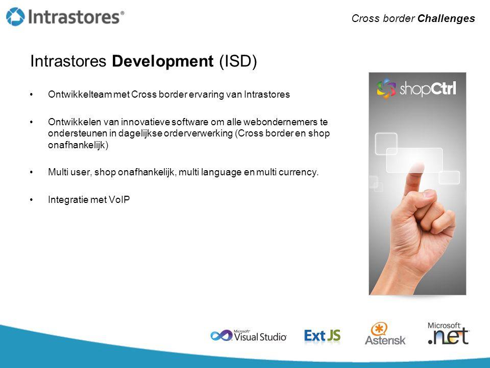 Intrastores Development (ISD) •Ontwikkelteam met Cross border ervaring van Intrastores •Ontwikkelen van innovatieve software om alle webondernemers te