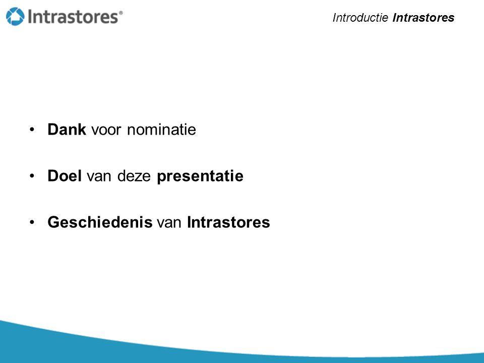 •Dank voor nominatie •Doel van deze presentatie •Geschiedenis van Intrastores Introductie Intrastores