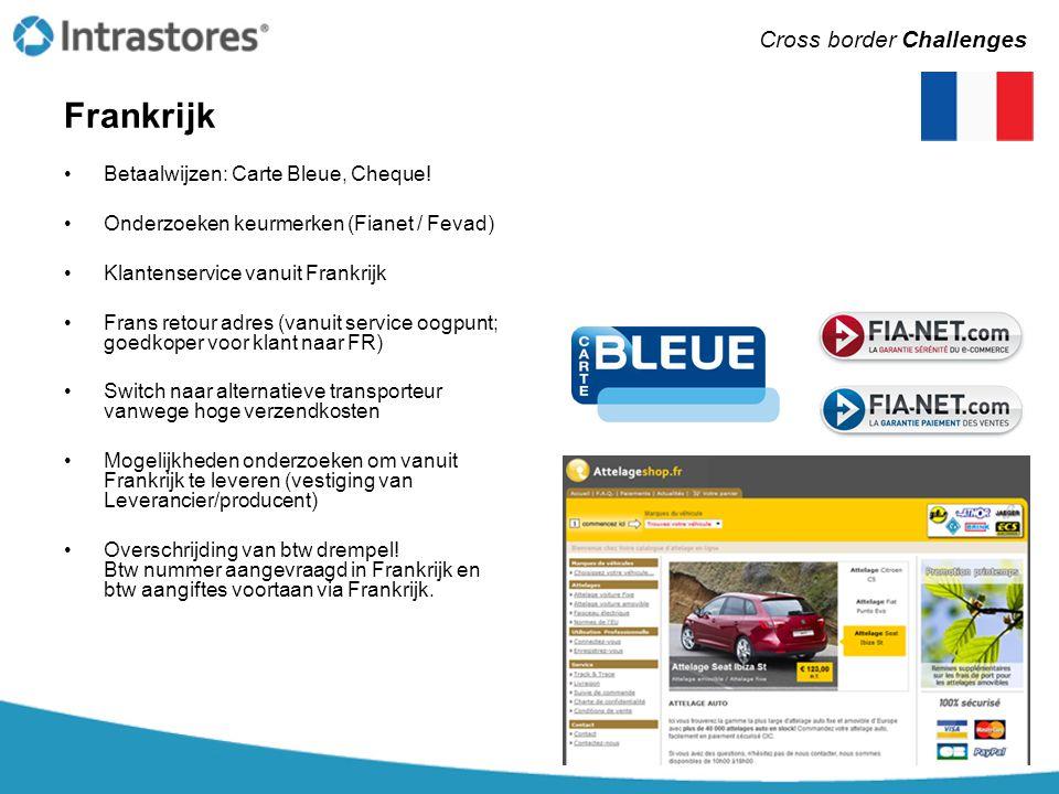 Frankrijk •Betaalwijzen: Carte Bleue, Cheque! •Onderzoeken keurmerken (Fianet / Fevad) •Klantenservice vanuit Frankrijk •Frans retour adres (vanuit se
