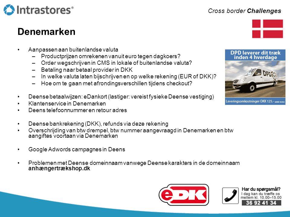 Denemarken •Aanpassen aan buitenlandse valuta –Productprijzen omrekenen vanuit euro tegen dagkoers? –Order wegschrijven in CMS in lokale of buitenland
