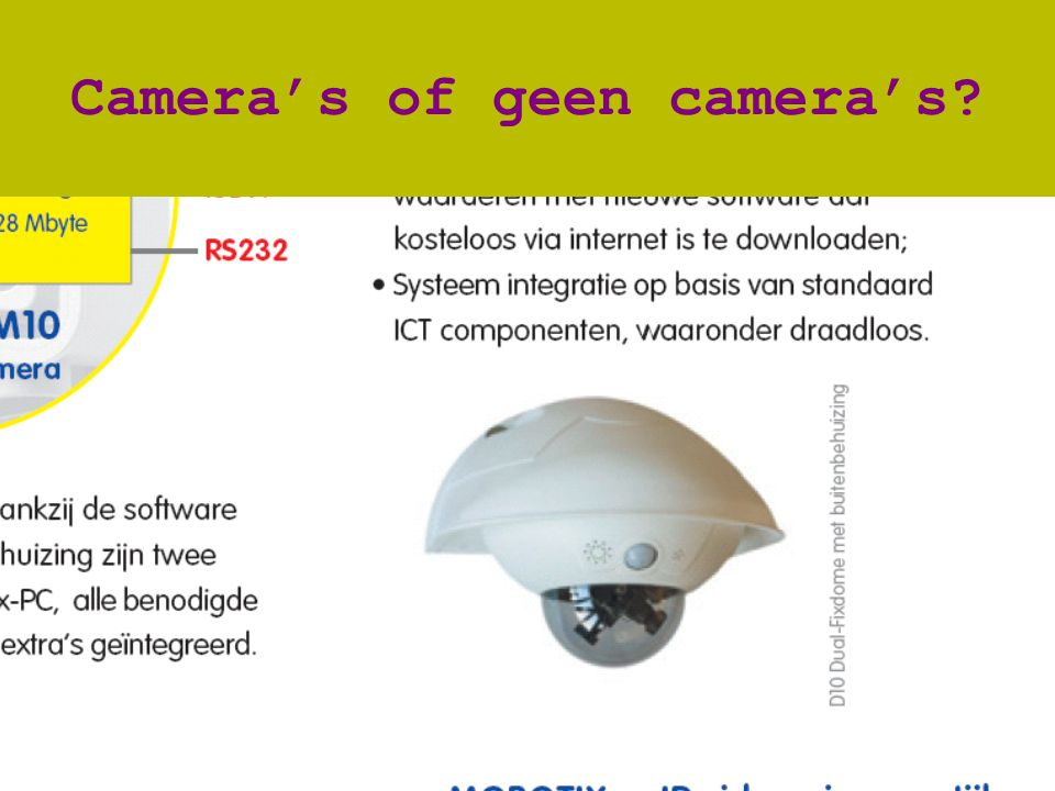 www.vilans.nl Camera's of geen camera's?