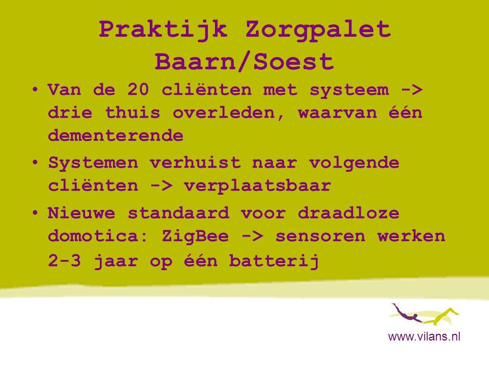 www.vilans.nl Praktijk Zorgpalet Baarn/Soest •Van de 20 cliënten met systeem -> drie thuis overleden, waarvan één dementerende •Systemen verhuist naar