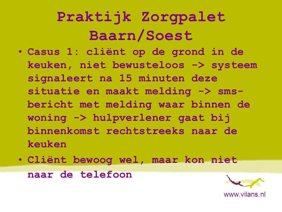 www.vilans.nl Praktijk Zorgpalet Baarn/Soest •Casus 1: cliënt op de grond in de keuken, niet bewusteloos -> systeem signaleert na 15 minuten deze situ