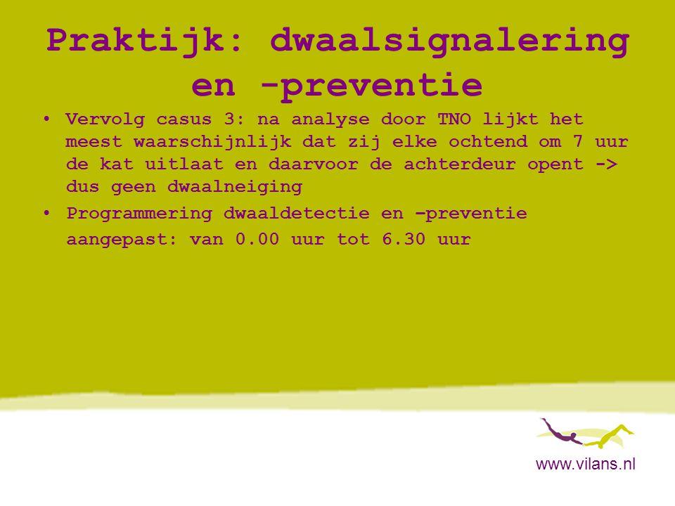 www.vilans.nl Praktijk: dwaalsignalering en -preventie •Vervolg casus 3: na analyse door TNO lijkt het meest waarschijnlijk dat zij elke ochtend om 7