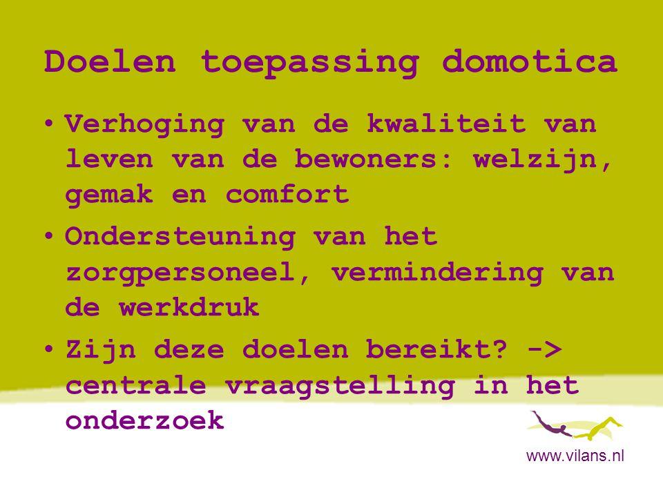 www.vilans.nl Nieuwe vorm van respijtzorg 1 Middenstadium van dementie -> Doel: vermindering van de druk op partner/mantelzorger, zodat aanvraag indicatie opname uitgesteld wordt -> Functioneel Programma van Eisen Domotica voor Thuiswonende mensen met dementie, versie 1.0, november 2007 -> www.domoticawonenzorg.nl -> Hoofdbestanddeel:Partner/mantelzorger kan het huis tijdelijk verlaten en de dementerende wordt: