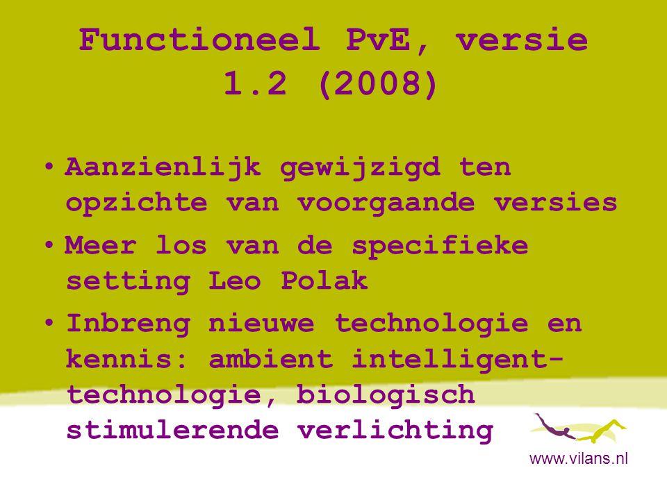 www.vilans.nl Functioneel PvE, versie 1.2 (2008) •Functiegroep 1: Bewakingsfuncties op mogelijke noodsituaties: overdag en/of in de nacht •Groep 2:Preventie en detectie op dwalen •Groep 3:Functies omtrent licht