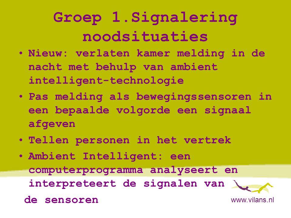 www.vilans.nl Groep 1.Signalering noodsituaties •Nieuw: verlaten kamer melding in de nacht met behulp van ambient intelligent-technologie •Pas melding