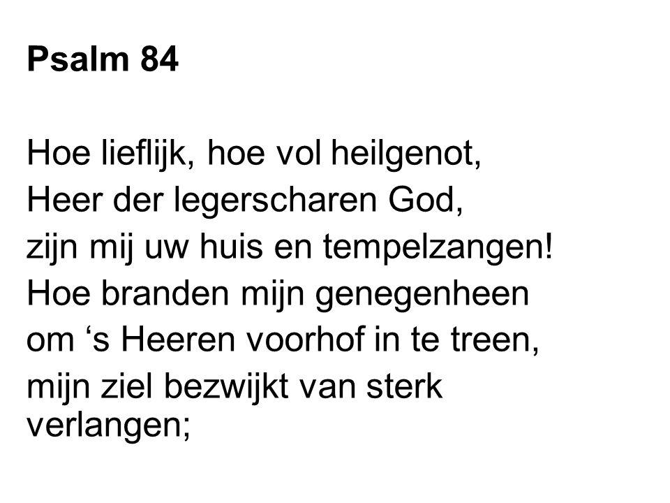 Psalm 84 Hoe lieflijk, hoe vol heilgenot, Heer der legerscharen God, zijn mij uw huis en tempelzangen! Hoe branden mijn genegenheen om 's Heeren voorh