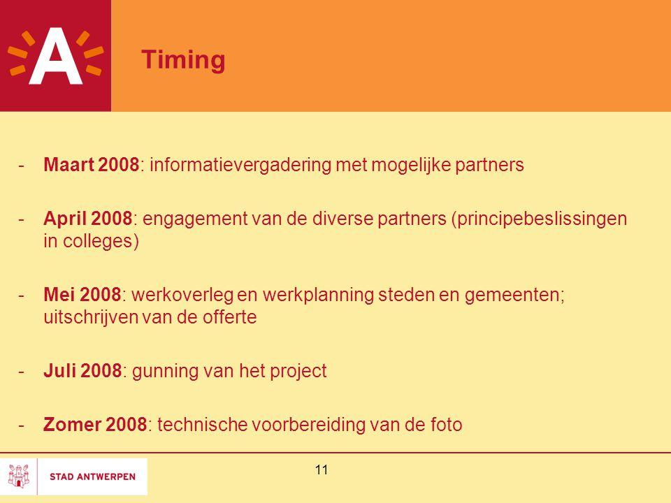 11 Timing -Maart 2008: informatievergadering met mogelijke partners -April 2008: engagement van de diverse partners (principebeslissingen in colleges)