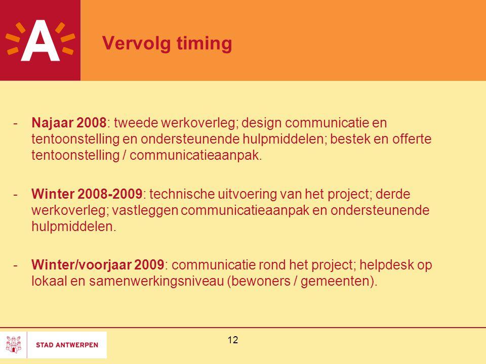 12 Vervolg timing -Najaar 2008: tweede werkoverleg; design communicatie en tentoonstelling en ondersteunende hulpmiddelen; bestek en offerte tentoonst