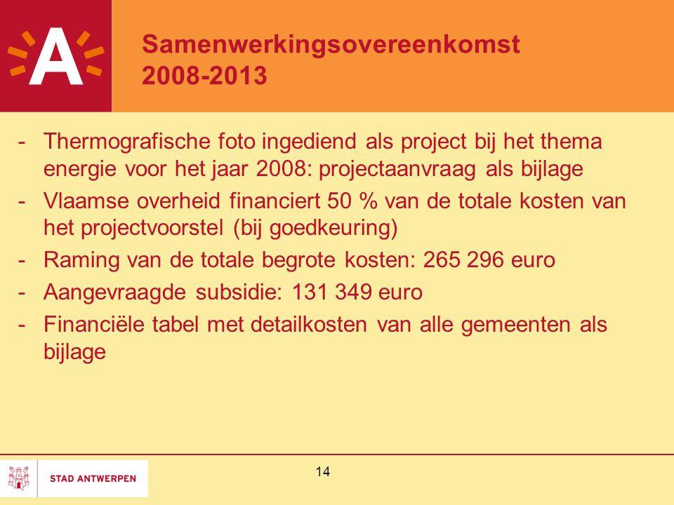 14 Samenwerkingsovereenkomst 2008-2013 -Thermografische foto ingediend als project bij het thema energie voor het jaar 2008: projectaanvraag als bijla