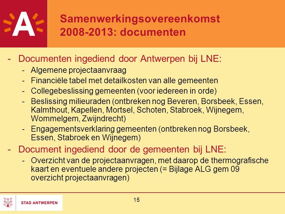 15 Samenwerkingsovereenkomst 2008-2013: documenten -Documenten ingediend door Antwerpen bij LNE: -Algemene projectaanvraag -Financiële tabel met detai