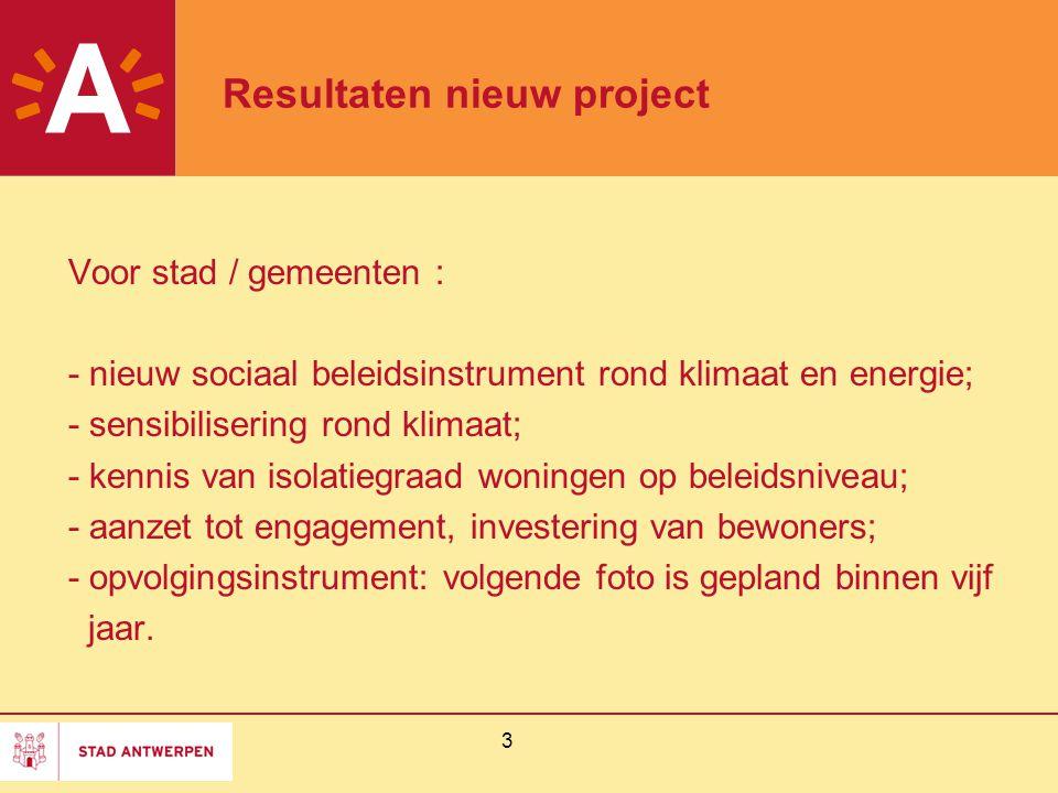 3 Resultaten nieuw project Voor stad / gemeenten : - nieuw sociaal beleidsinstrument rond klimaat en energie; - sensibilisering rond klimaat; - kennis