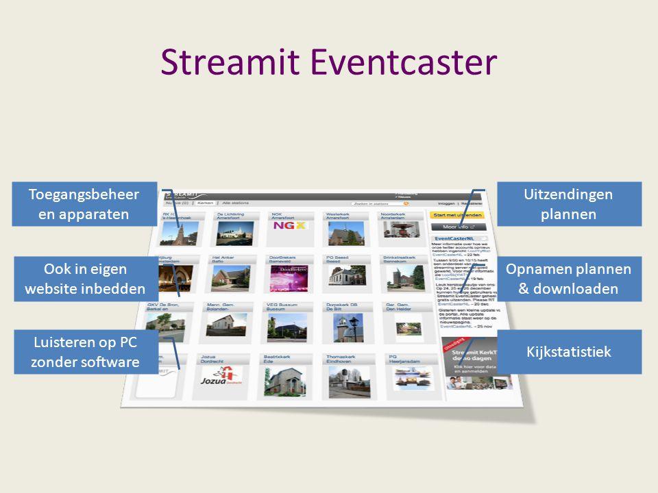 Streamit Eventcaster Uitzendingen plannen Opnamen plannen & downloaden Kijkstatistiek Toegangsbeheer en apparaten Ook in eigen website inbedden Luisteren op PC zonder software