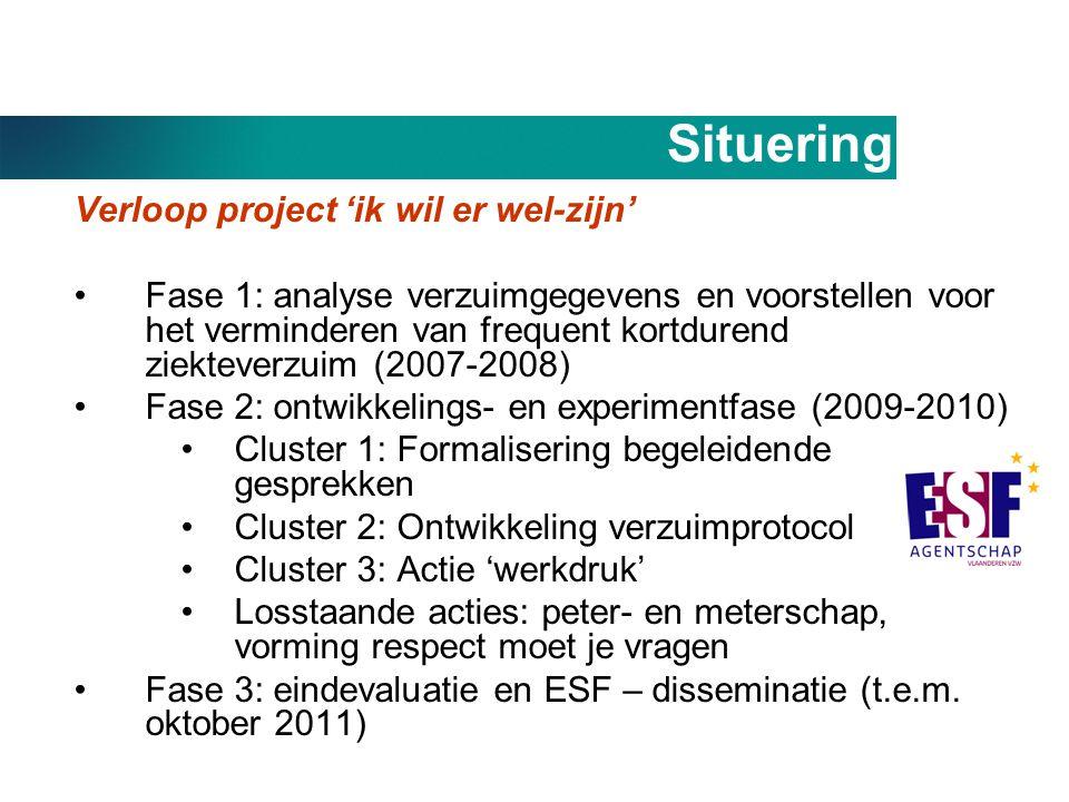 Situering Verloop project 'ik wil er wel-zijn' •Fase 1: analyse verzuimgegevens en voorstellen voor het verminderen van frequent kortdurend ziekteverz