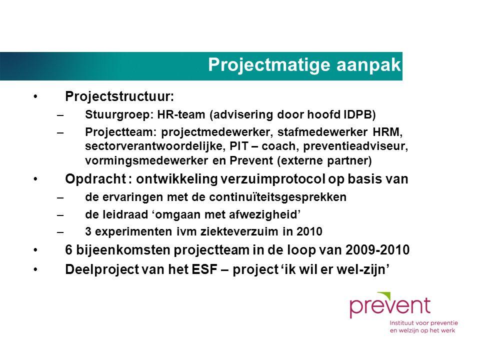 Projectmatige aanpak •Projectstructuur: –Stuurgroep: HR-team (advisering door hoofd IDPB) –Projectteam: projectmedewerker, stafmedewerker HRM, sectorv