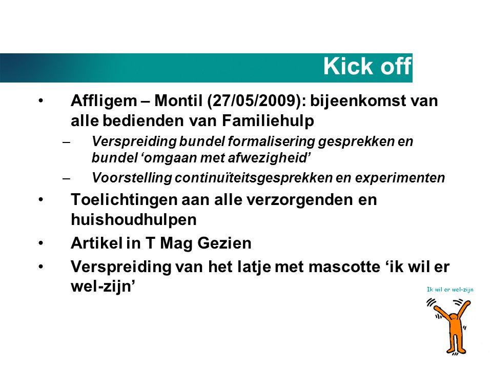 Kick off •Affligem – Montil (27/05/2009): bijeenkomst van alle bedienden van Familiehulp –Verspreiding bundel formalisering gesprekken en bundel 'omga