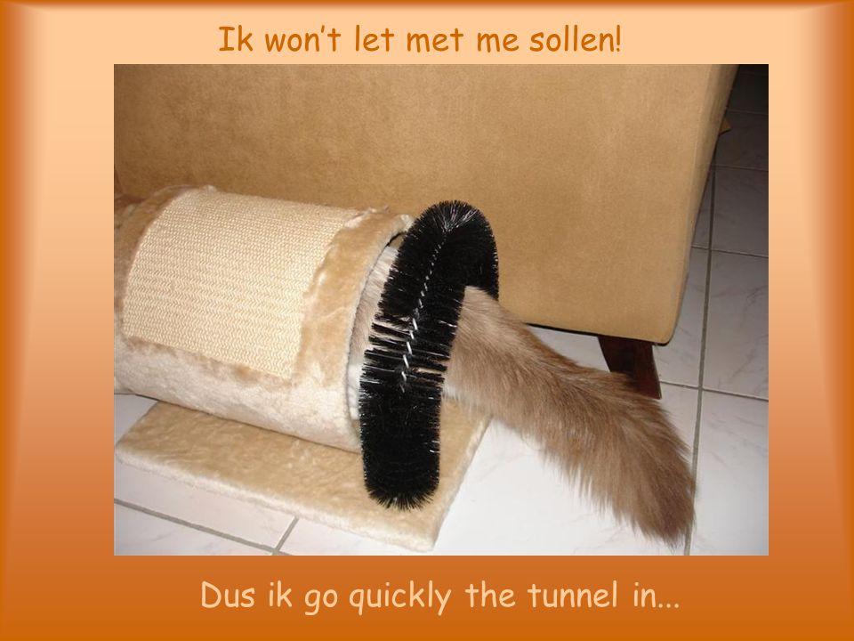 Ik won't let met me sollen! Dus ik go quickly the tunnel in...