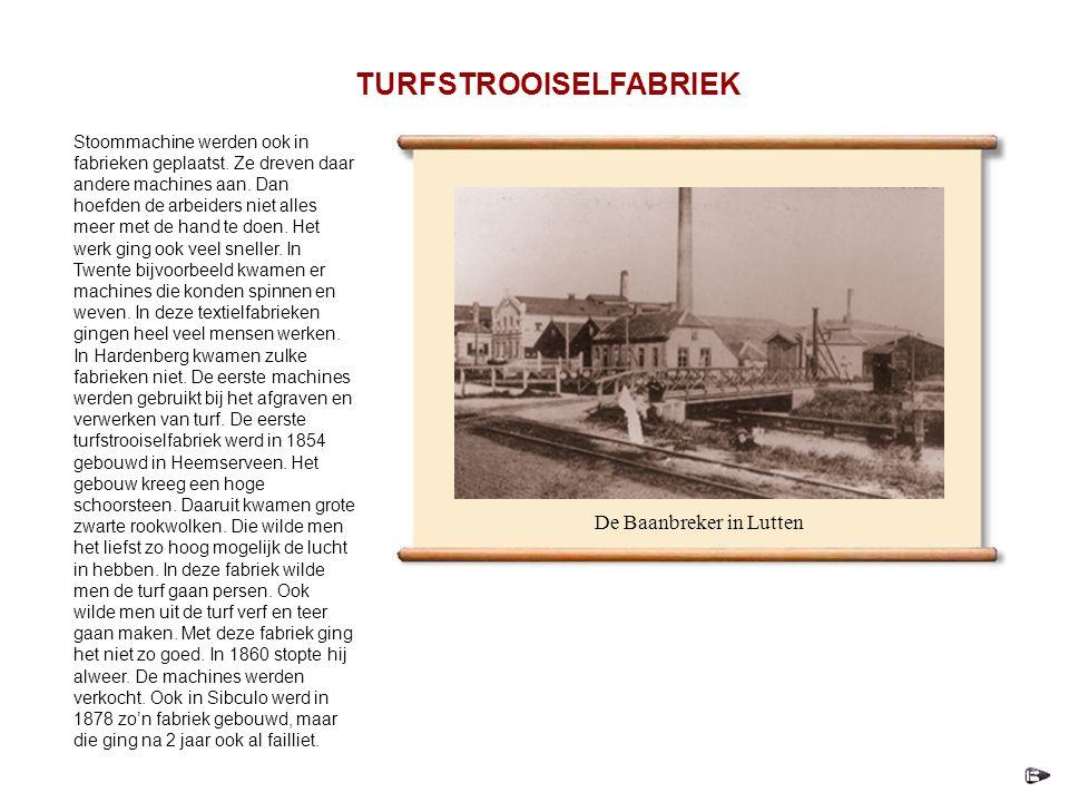 Stoommachine werden ook in fabrieken geplaatst.Ze dreven daar andere machines aan.