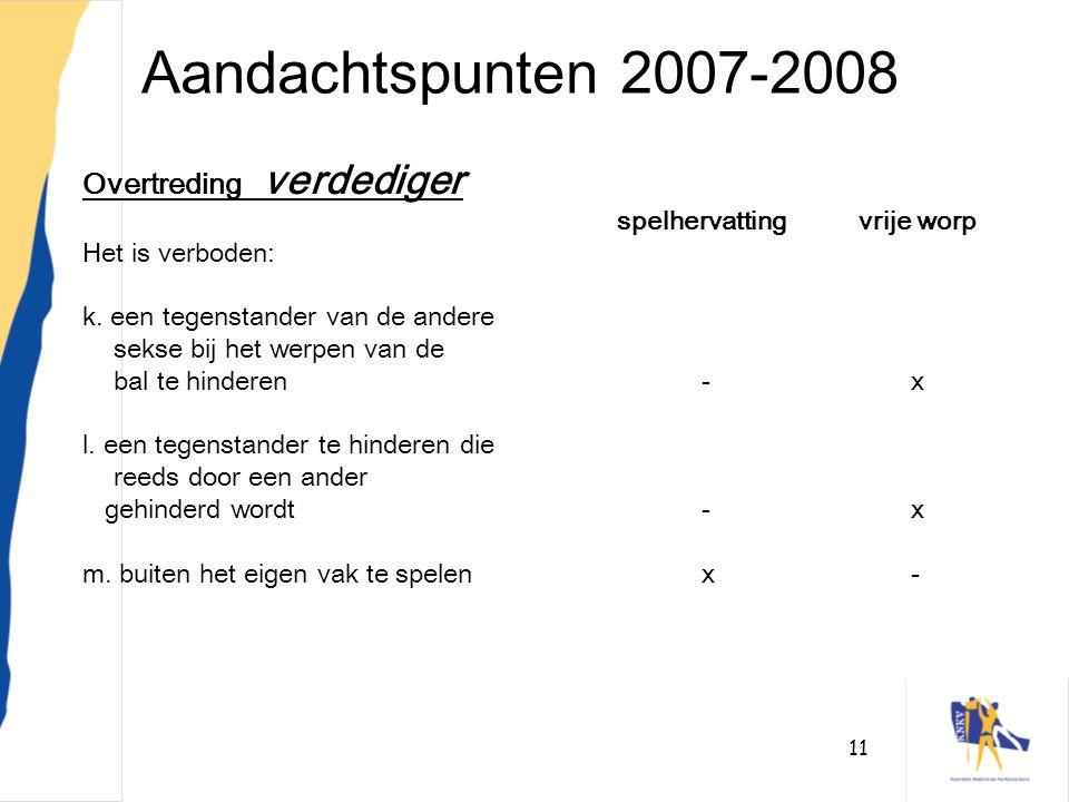 11 Aandachtspunten 2007-2008 Overtreding verdediger spelhervattingvrije worp Het is verboden: k. een tegenstander van de andere sekse bij het werpen v