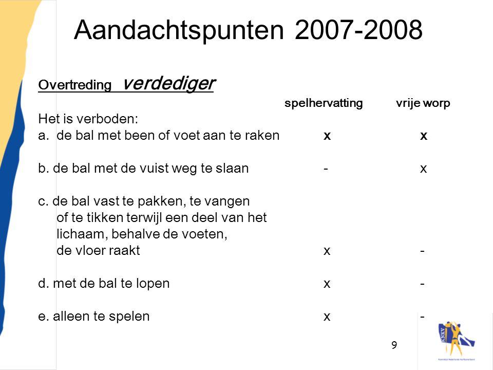 9 Aandachtspunten 2007-2008 Overtreding verdediger spelhervattingvrije worp Het is verboden: a.de bal met been of voet aan te rakenxx b. de bal met de