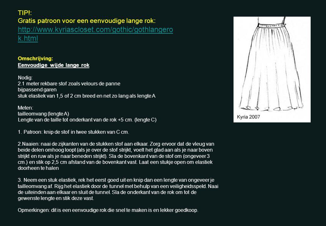 Omschrijving: Eenvoudige wijde lange rok Nodig: 2.1 meter rekbare stof zoals velours de panne bijpassend garen stuk elastiek van 1,5 of 2 cm breed en