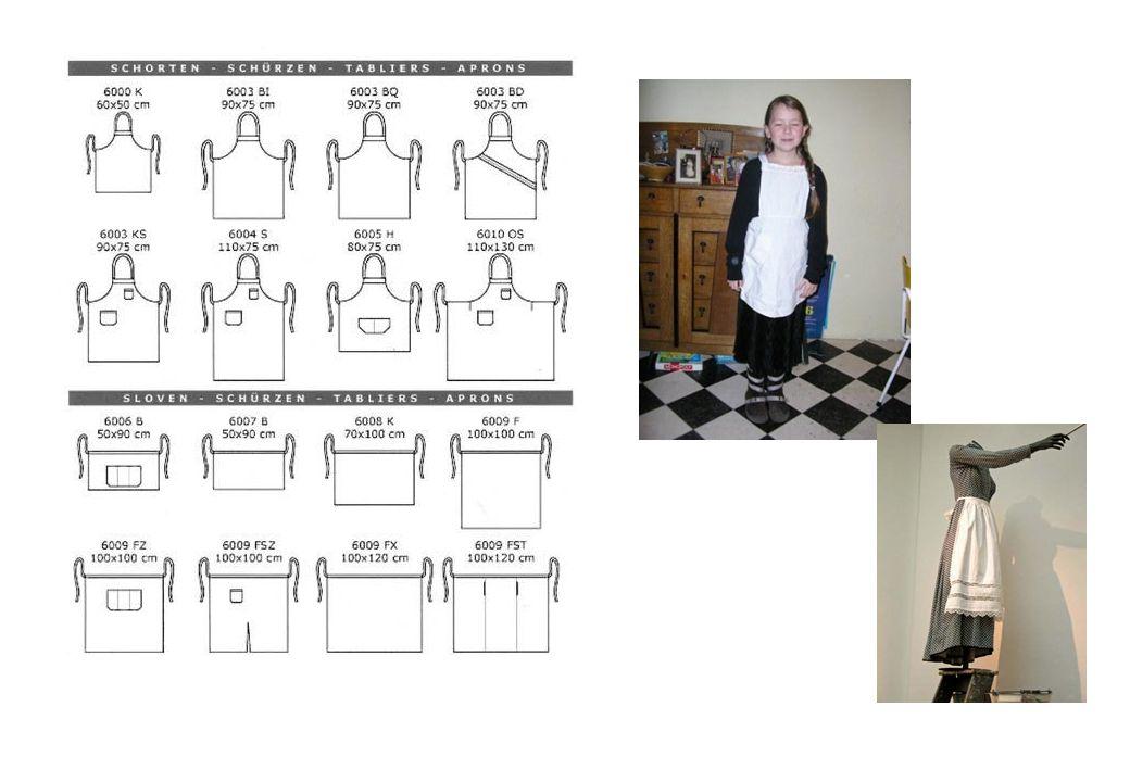 http://shop.naaipatronen.nl/productinfo1/;jsessi onid=30B6EB5B199ED7CD55D6C5609D49F2 17?__stateless=30B6EB5B199ED7CD55D6C 5609D49F217& Zie Historische Kostuums, schorten: blad 2 Schort (zonder de ruches): http://www.kyriascloset.com/files/apronpattern01.pdf