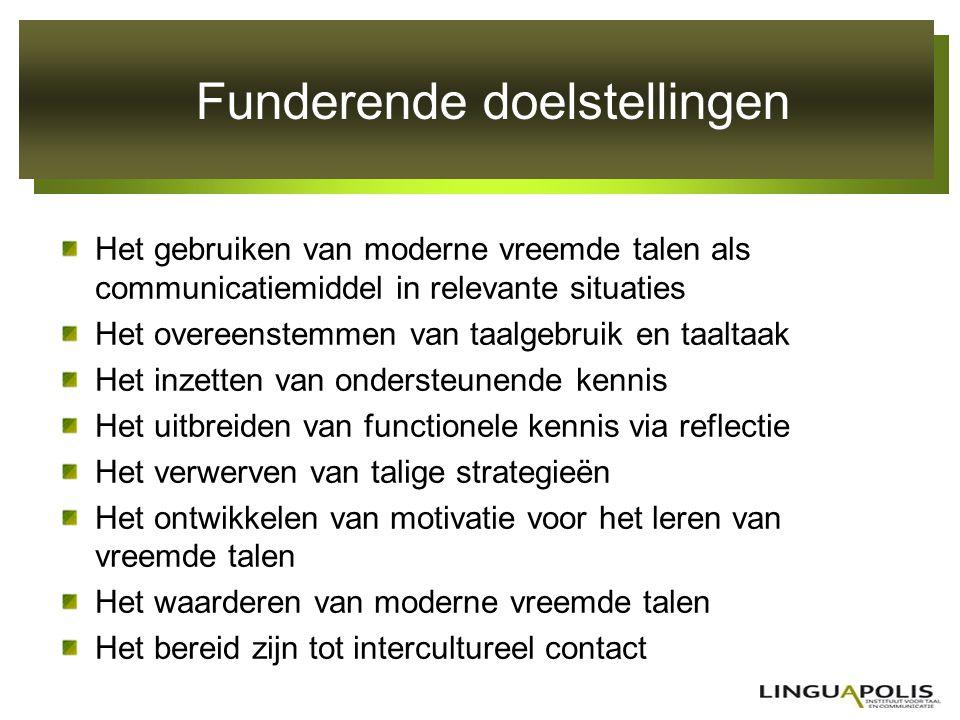 Funderende doelstellingen Het gebruiken van moderne vreemde talen als communicatiemiddel in relevante situaties Het overeenstemmen van taalgebruik en